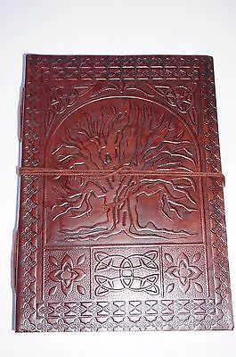 Leather handcrafted book Journal Keepsake handmade diary Tree of life LARGE
