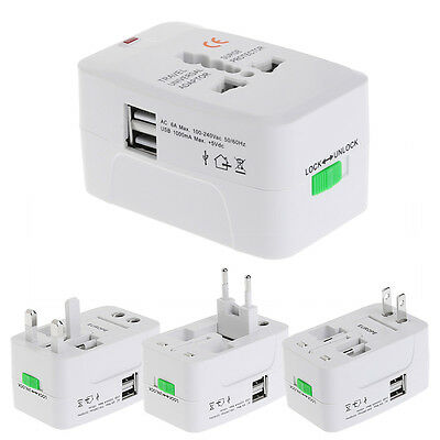 2 USB Port Universal Travel AC Power Charger Adapter Plug Converter AU UK US EU