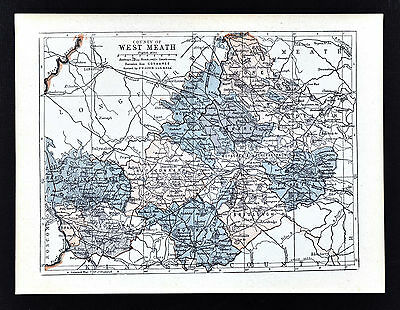 1900 Ireland Map - West Meath County - Athlone Kilbeggan Mullingar Castlepollard