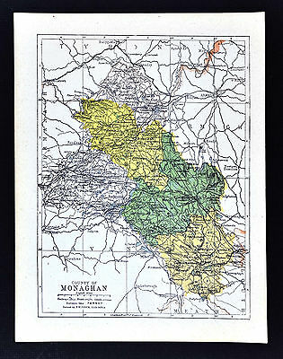 1900 Ireland Map - Monaghan County Castleblayney Glaslough Carrickmacross Clones