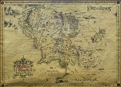 Poster auf Pergamentpapier LORD OF THE RINGS - Middle Earth Parchment Map 59795