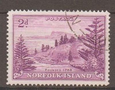 NORFOLK ISLAND SG4a 1956 2d ON WHITE PAPER FINE USED