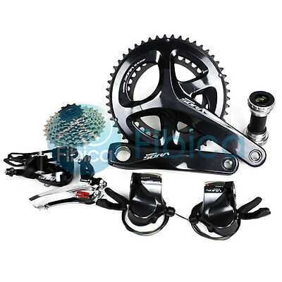 New 2017 Shimano SORA R3000 Flat Shifters Road 9-speed 50/34T 28T Groupset Group