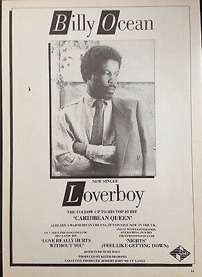 BILLY OCEAN. LOVERBOY - ORIGINAL 1 PAGE ADVERT FROM 1980s No1 MAGAZINE