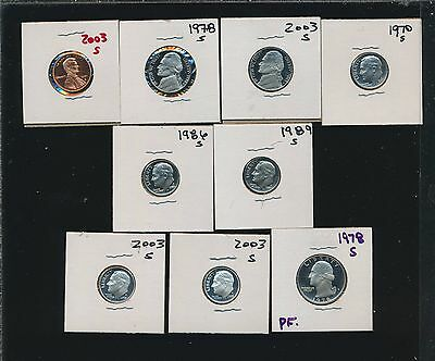 Proof  Lot  1 Cent Thru; 25 Cents - (9 Coins) - A Buy