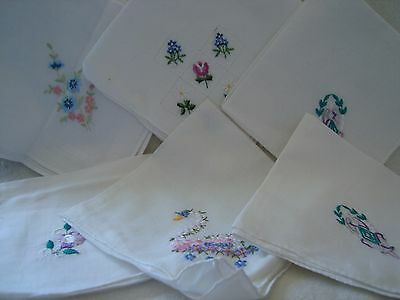 6 Vintage White Cotton Handkerchiefs Embroidered Designs- Flowers and Swan