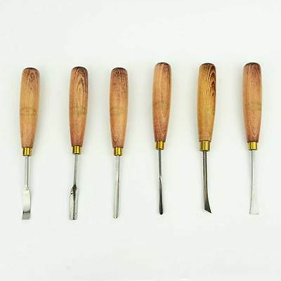 "Crown Tools UK 6PC 6-3/4"" Wood Carving Wood Turning Hand Tool Chisel Gouge Set"