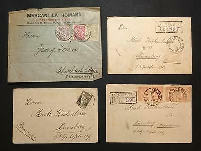Romania 1924,1925 4 Cover Lot 1926 2x Registered Letter Germany Bavaria