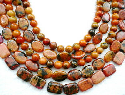 clearance-15.5''autumn Jasper round 6-14mm rectangle gemstone beads orange
