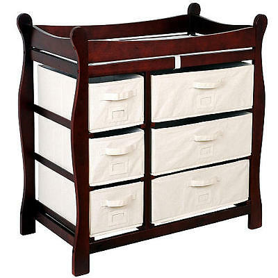 Badger Basket Sleigh Changing Table with 6 Baskets - Cherry