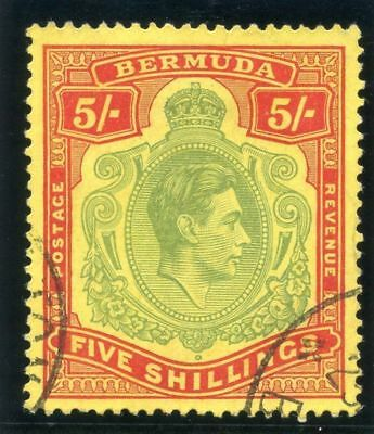 Bermuda 1939 KGVI 5s pale green & red/yellow very fine used. SG 118a.
