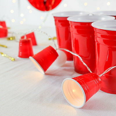 1.35m Battery Power Beer Pong Cup Mini LED Fairy Lights | Red Solo Party Home