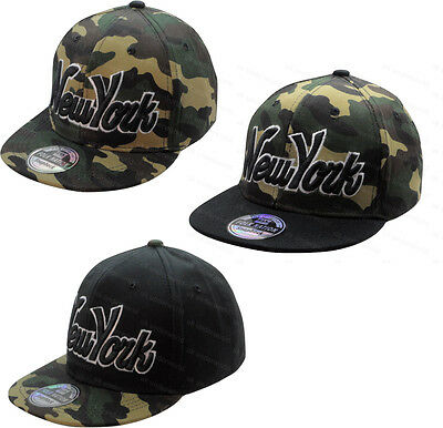 Boys Girls Camouflage New York Ny Snapback Baseball Cap Childrens Peak Hat