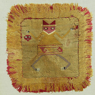 Rare Moche, Proto Chimu, Tapestry, 500-700 Ad, Pre Columbian, Badge Or Headdress