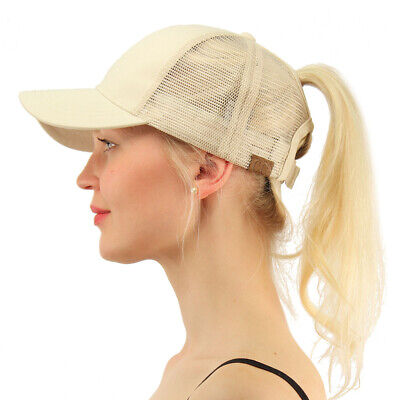 C.C Ponytail Messy Buns Trucker Ponycaps Plain Baseball Visor Cap Dad Hat