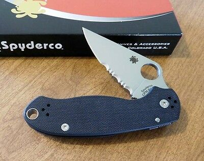 SPYDERCO New Black G-10 Handle Para Military 3 Plain S30V Blade Knife/Knives