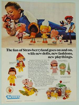1981 Kenner Strawberry Shortcake Dolls Vintage Ad Page Cute Little Girl Playing