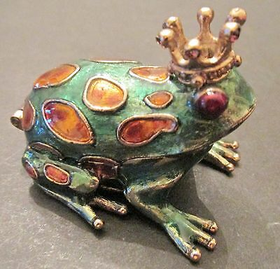 Monet Enamel Enameled FROG FROGS With Crown Trinket Box