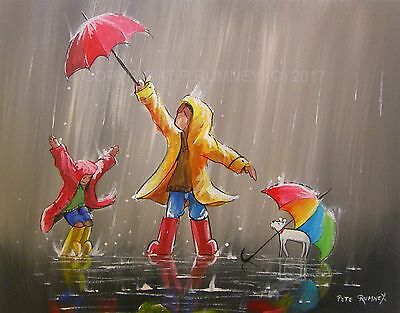 "PETE RUMNEY ORIGINAL PAINTING ON STRETCHED CANVAS RED ENJOY THE RAIN 20"" x 16"""
