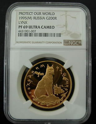 Russia 1995M Gold 1 oz 200 Roubles PF-69UC Lynx