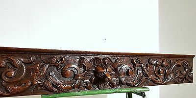 CARVED WOOD PEDIMENT ANTIQUE FRENCH OAK GRIFFIN CHIMERA MOUNT CORNICE CREST 19th