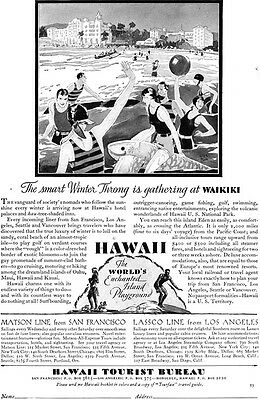 WAIKIKI Hawaii Tourist Bureau WHERE THE SMART WINTER THRONG GATHERS '29 Print Ad
