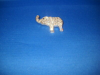 """Inset Rhinestones Small Elephant Pin Turned Up Trunk Silver Tone 1 3/4"""" Long"""