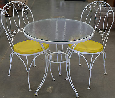 Vintage White Wrought Iron Table with Glass Top & 2 Chairs