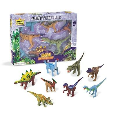 8 Piece Moveable Dinosaur Playset - Dino Set Wild Republic Eco Expedition Dig