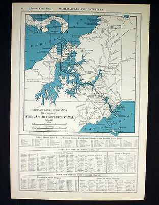 Antique Map 1921 Isthmus with Completed Canal Commission Panama or West Indies