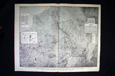 Antique Map 1921 General Pershing's Secret Battle Map or U.S. American Sector