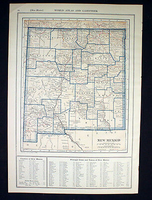Antique Map 1921 Color State of New Mexico or New Jersey