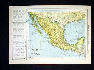 Antique Map 1921 Color Country of Mexico or Central America