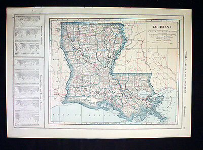 Antique Map 1921 Color State of Louisiana or Maine