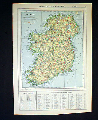 Antique Map 1921 Color Ireland or Norway and Sweden