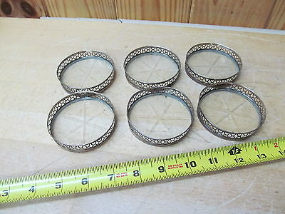 6 Pierced Sterling Silver Rimmed Glass Drink Coasters w/ Heart Theme Vintage
