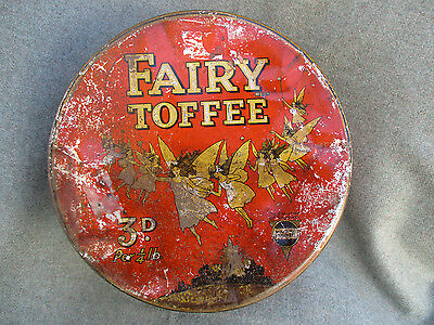 VINTAGE 1920s FAIRY TOFFEE CAN CANDY TIN GEORGE HORNER & CO w WINGED FAIRIES