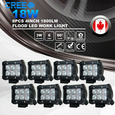 8x 4inch 18W Flood CREE LED Work Light Bar Off road 4WD Fog ATV SUV Driving Lamp