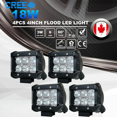 4X 4inch 18W CREE LED Work Light Pod Offroad Reverse Flood Lamp ATV Truck 12V24V