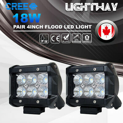 2x 4inch 18W Flood CREE LED Work Light Bar Off road 4WD Fog ATV SUV Driving Lamp