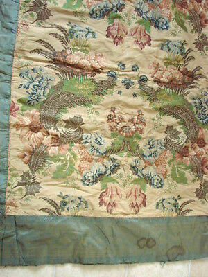 Vintage  Antique Fabric Coverlet Silk French 60x80 Floral Flannel Batting