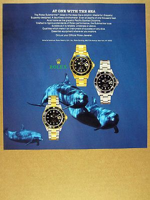 1988 Rolex Submariner Chronometer watch Spotted Dolphins photo vintage print Ad