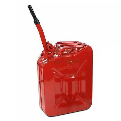 Red 20L 5 Gallon Gas Jerry Can Fuel Steel Tank Military RED w / Spout New