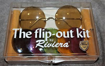Vintage Rare Riviera Flip-Out Kit Sunglasses 1970's Made In France