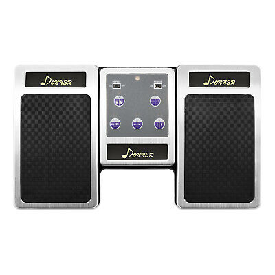 Donner Bluetooth Page Turner Pedal for Tablets Rechargeable Silver Free Shipping