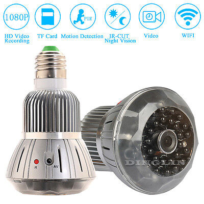 HD 1080P Hidden Spy LED Light Bulb Lamp IP Camera WiFi Motion Detection Recorder
