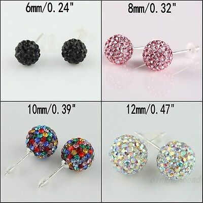 Sparkle CZ Crystal Round Disco Ball Sliver Stud Earrings 6mm 8mm 10mm 12mm New
