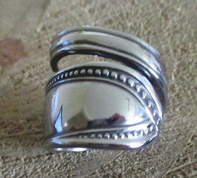 Handcrafted Stainless Steel Bypass Spoon Ring Size R/8.5 BSR120