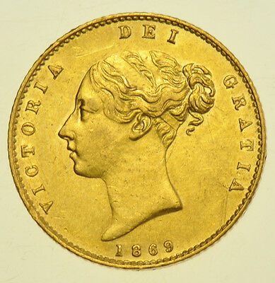 1869 Half Sovereign British Gold Coin From Victoria V [Die #12]
