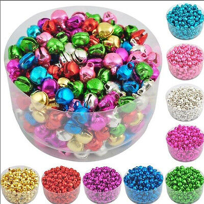 100 Pcs Colorful Iron Loose Beads Christmas Jingle Bells Pendants Charms 6 mm